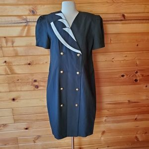 1980s Nancy G Black & White Poly/Rayon Dress